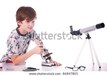 happy boy studying science. isolated on white, studio shot - stock photo