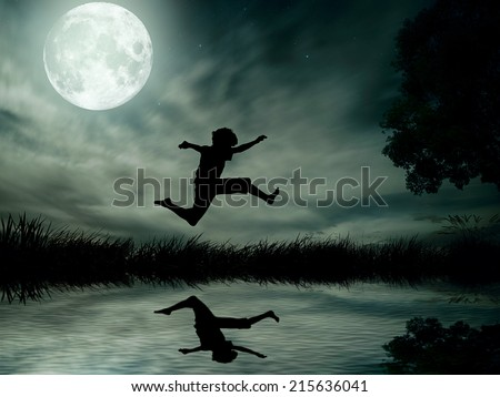 Happy boy, teenager jumping in water, over lake with moonlight, moon background, body reflection in water. Outdoor exciting summer vacation, travel life, leisure. Lifestyle freedom concept. Dreamland  - stock photo