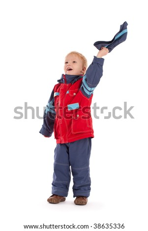 Happy boy wave of the hand with hat. Isolated on white - stock photo