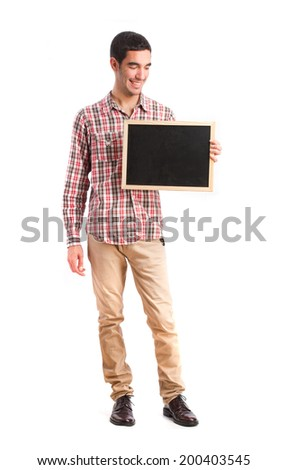 Happy boy with a blackboard