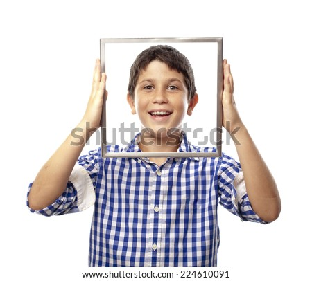 happy boy with a frame - stock photo