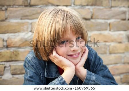 happy boy with beautiful smile - stock photo