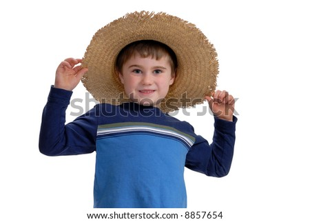 Happy boy with hat - stock photo