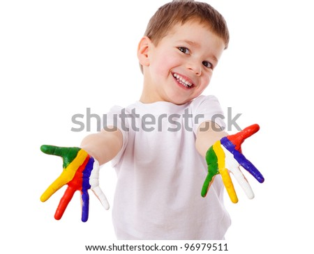 Happy boy with painted hands, isolated on white