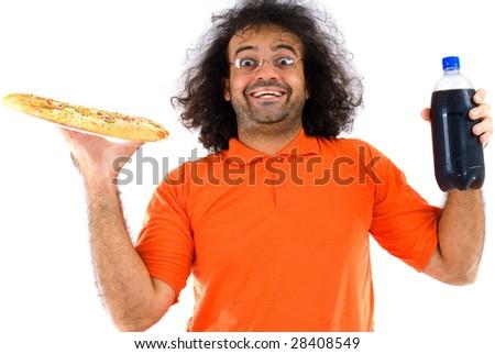Happy Boy with pizza and soda . - stock photo