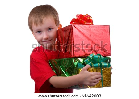 Happy boy with presents isolated on white background - stock photo