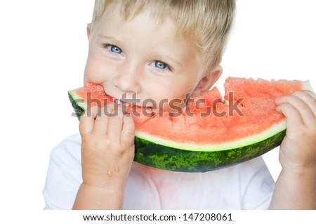 Happy boy with  slice of watermelon on the white background. - stock photo