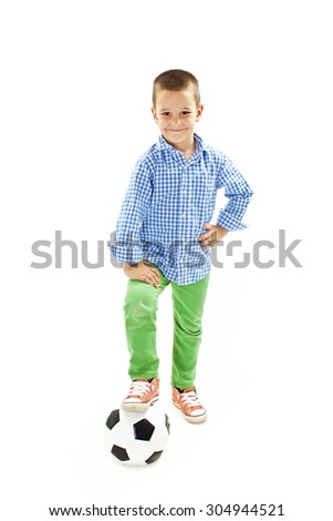 Happy boy with soccer ball.  Isolated on white background - stock photo