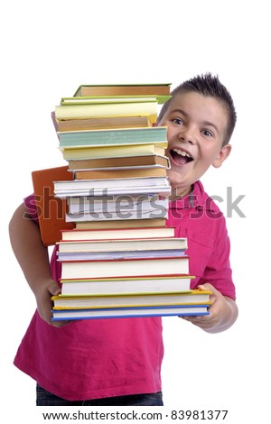 happy boy with stack of books. isolated on white background