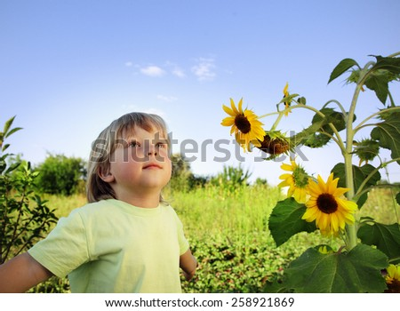 Happy boy with sunflower outdoors - stock photo