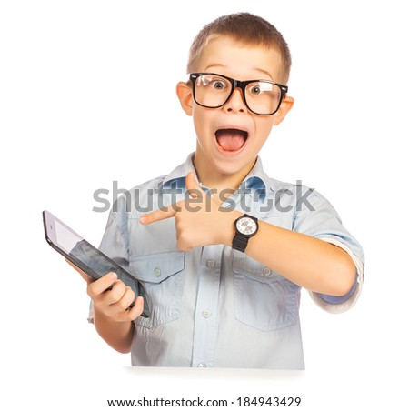 happy boy with tablet isolated on white - stock photo