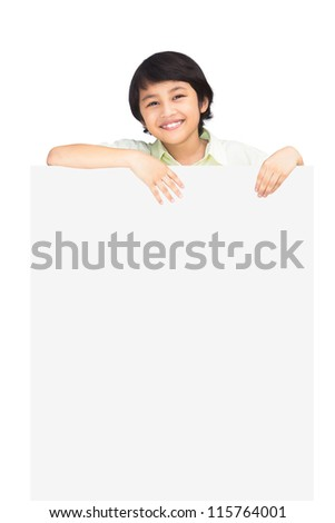 Happy boy with the empty blank, Isolated over white background - stock photo