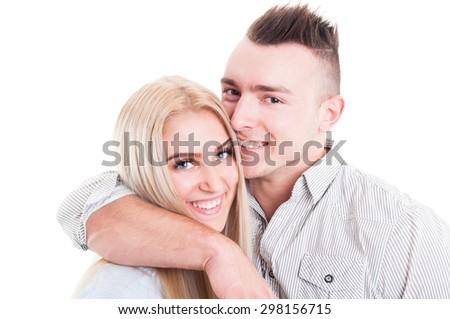 Happy boyfriend and girlfriend smiling inlove on white background - stock photo