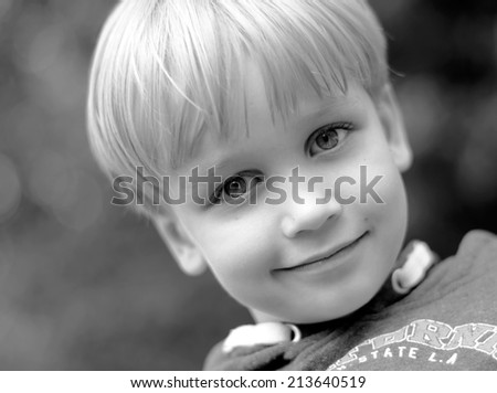 happy boys black and white portrait - stock photo