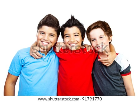 Happy boys, teenagers smiling,  portrait of the best friends isolated on white background, cute kids having fun - stock photo