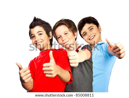 Happy boys, teenagers smiling, thumbs up, portrait of best friends isolated on white background, cute kids having fun - stock photo