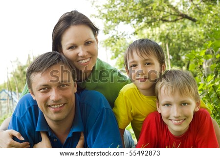 happy boys with family - stock photo