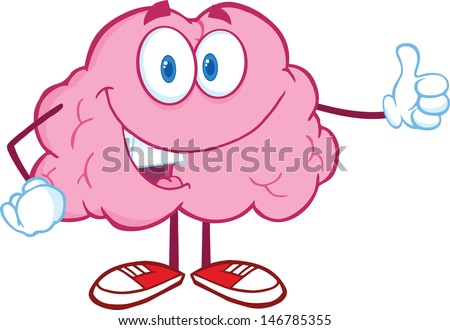 Happy Brain Character Giving A Thumb Up. Vector version also available in gallery - stock photo