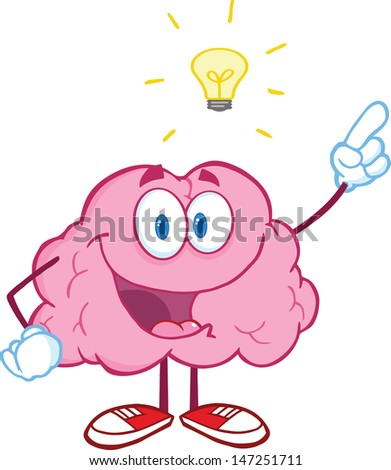 Happy Brain Character With A Big Idea . Vector version also available in gallery - stock photo