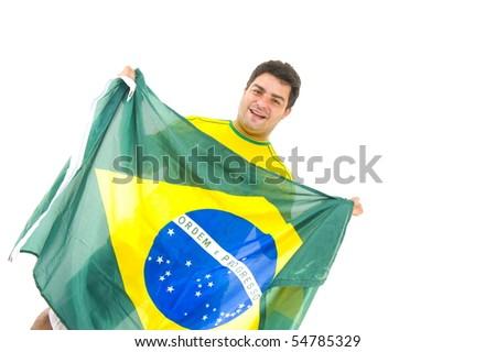 Happy brazilian fan holding brazil flag . - stock photo