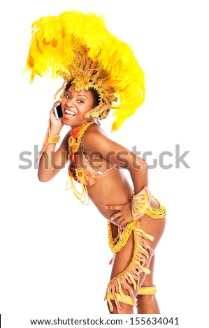 Happy Brazilian Samba dancer with phone