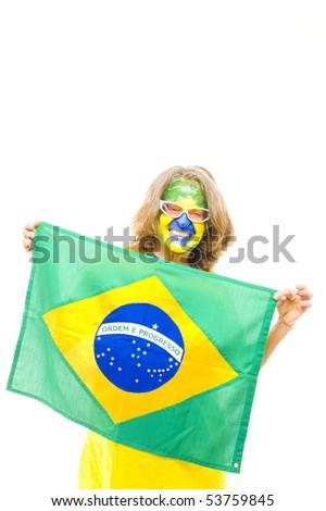 Happy Brazilian sport fan holding a flag . - stock photo