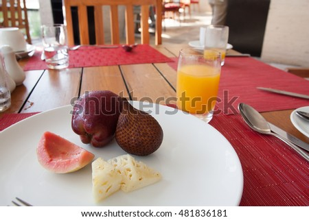 Happy breakfast of fruit