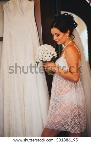 Happy bridal morning. Bride getting ready. wedding picture.
