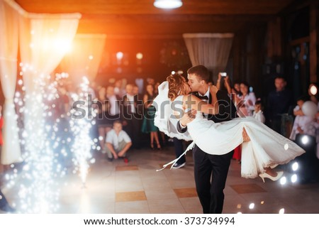 How to get New Wife For a Partner stock photo happy bride and groom and their first dance wedding in the elegant restaurant with a wonderful 373734994