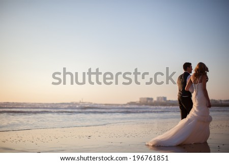 Happy bride and groom on a beautiful beach  - stock photo