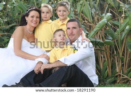 happy bride groom and children - stock photo