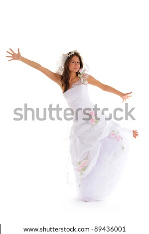 happy bride in wedding dress isolated on white