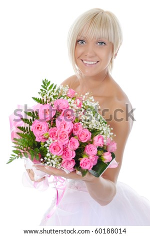 Happy bride with a bouquet of roses. Isolated on white background - stock photo