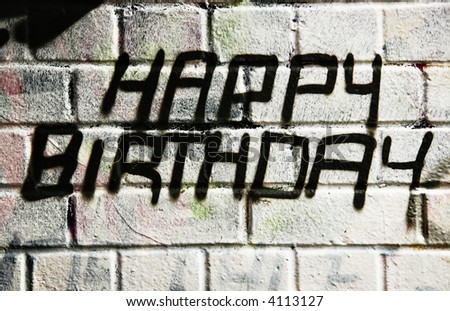 Happy brithday in graffiti - stock photo