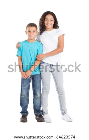 happy brother and sister studio portrait on white - stock photo