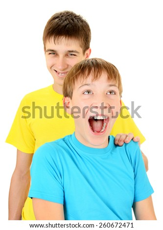 Happy Brothers Portrait on the White Background - stock photo