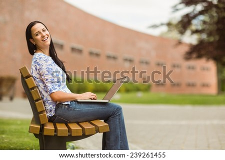 Happy brown hair sitting on bench using laptop in the park - stock photo