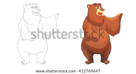 Happy Brown Red Bear Coloring Book Stock Illustration 412769647 ...