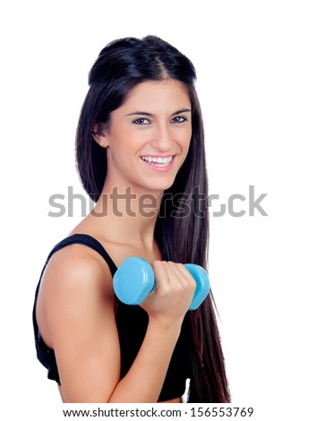 Happy brunette girl toning the muscles isolated on a white background
