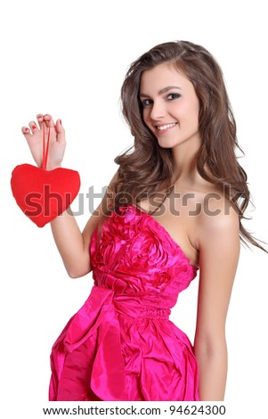 Happy brunette holding a love sign - stock photo