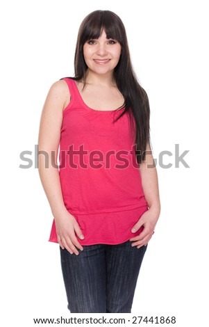 happy brunette woman over white background