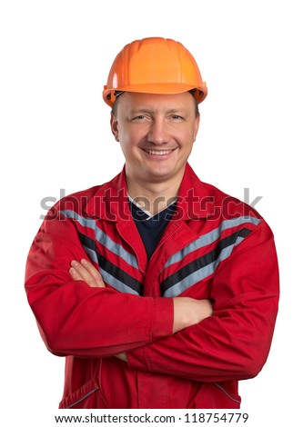 Happy builder with crossed hands isolated on white - stock photo