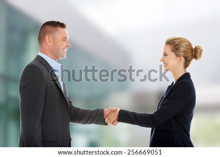 Happy business couple shaking hands - stock photo