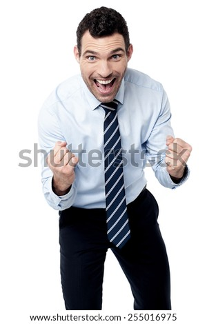 Happy business executive gesturing his success - stock photo