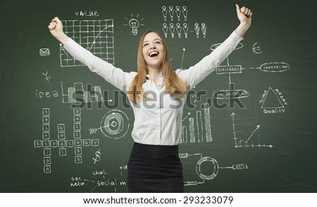 Happy business lady have found the solution for a business project. Graphs and flowcharts are drawn on the green chalk board. - stock photo