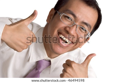 Happy business man extended thumb on white background. - stock photo