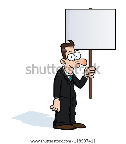 Happy business man holding an empty protest sign. - stock photo
