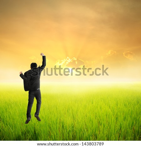 Happy business man jumping in green rice field and sunset - stock photo