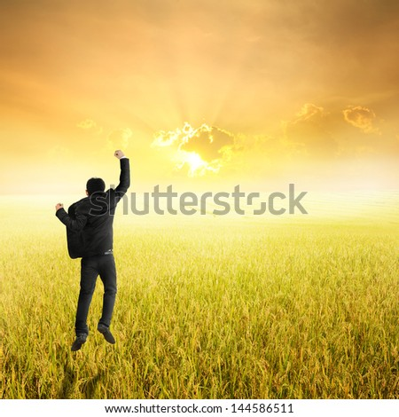 Happy business man jumping in yellow rice field and sunset - stock photo