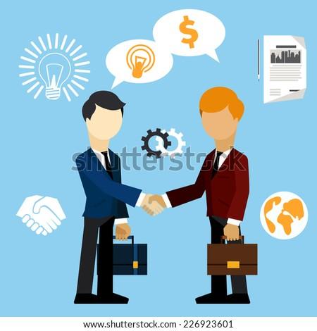 Happy business man make handshake exchange case studies in which idea money cartoon flat design style. Raster version - stock photo